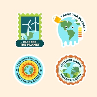 Ręcznie rysowane odznaka zmiany klimatu o płaskiej konstrukcji