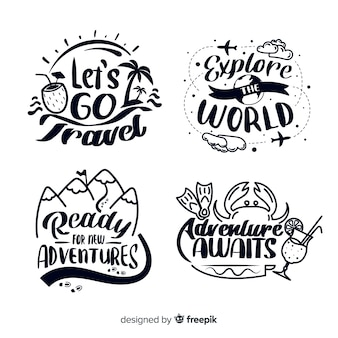 Ręcznie rysowane odznaki podróżne