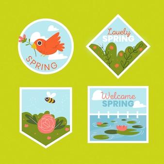 Ręcznie rysowane odznaki ptaków i przyrody