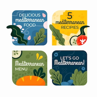 Ręcznie rysowane odznaki wegetariańskie o płaskiej konstrukcji