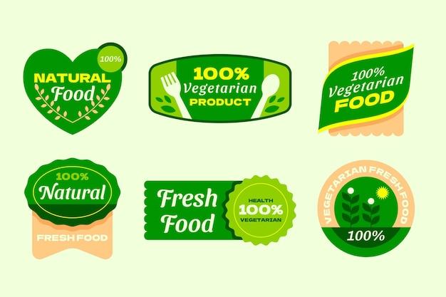Ręcznie rysowane odznaki wegetariańskie