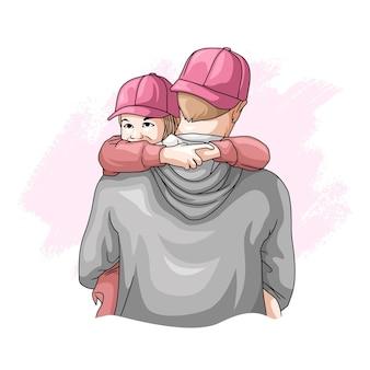 Ręcznie rysowane ojciec i syn na dzień ojca 7
