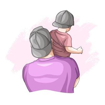 Ręcznie rysowane ojciec i syn na dzień ojca 8