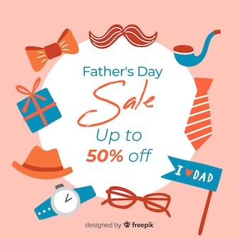 Ręcznie rysowane ojców dzień sprzedaży tło