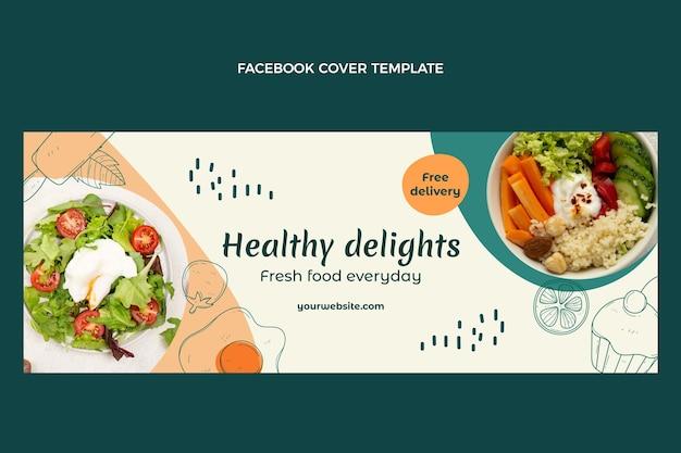Ręcznie rysowane okładka na facebooku o zdrowej żywności