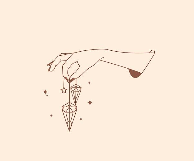 Ręcznie rysowane okultyzm logo magiczne ręce z gwiazdami kryształowy księżyc ezoteryczne mistyczne elementy projektu