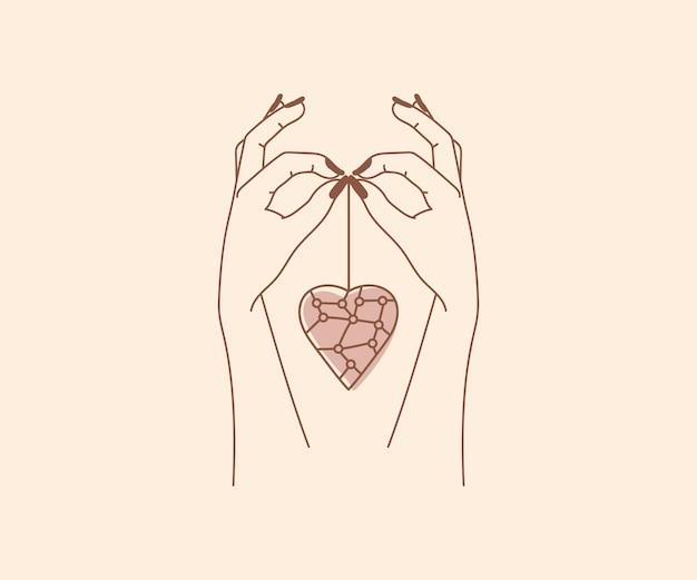 Ręcznie rysowane okultyzm logo magicznych rąk z wiszącymi ezoterycznymi mistycznymi elementami projektu