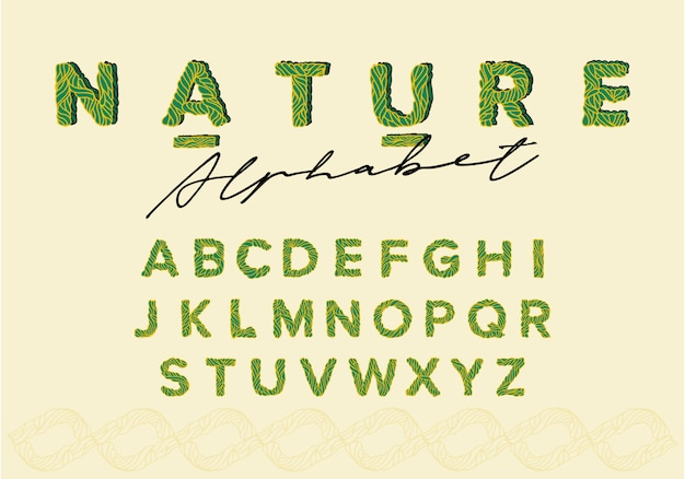 Ręcznie rysowane ołówkiem zielone kolorowe naturalne ekologiczne czcionki