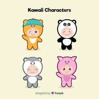 Ręcznie rysowane opakowanie kawaii ludzi
