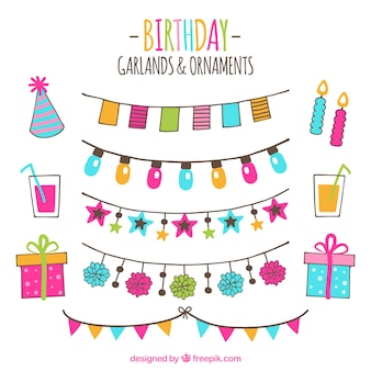 Ręcznie rysowane opakowanie ozdoby urodzinowe
