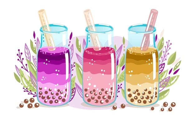 Ręcznie rysowane opakowanie smaków herbaty bąbelkowej