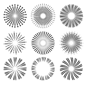 Ręcznie rysowane opakowanie sunburst