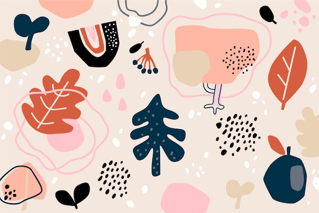 Ręcznie rysowane organiczne kształty streszczenie tło