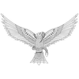 Ręcznie rysowane orła w stylu zentangle