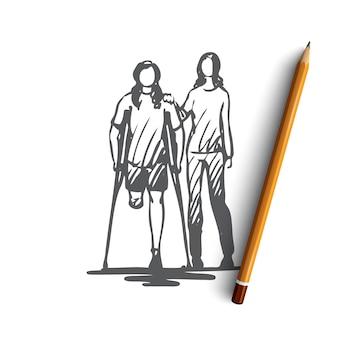 Ręcznie rysowane osób niepełnosprawnych