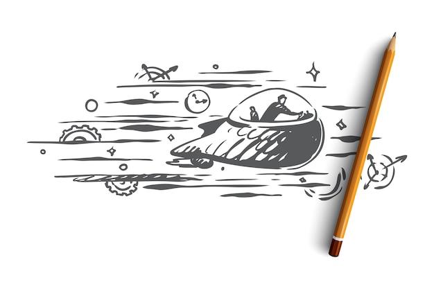 Ręcznie rysowane osoba podróżująca w szkic koncepcji maszyny czasu
