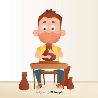 Ręcznie rysowane osoby do wyrobu ceramiki