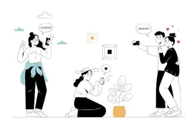 Ręcznie rysowane osoby robiące zdjęcia za pomocą smartfona