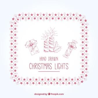 Ręcznie rysowane oświetlenie świąteczne ze świecami