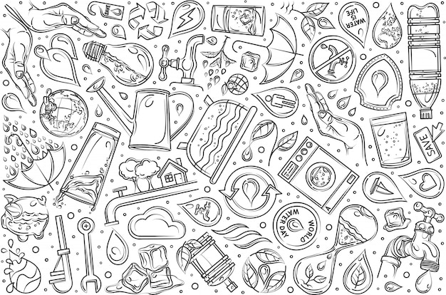 Ręcznie rysowane oszczędzania wody zestaw doodle tło
