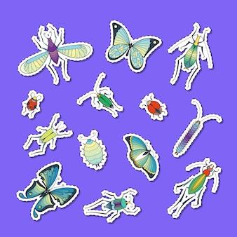 Ręcznie rysowane owady naklejki zestaw ilustracji