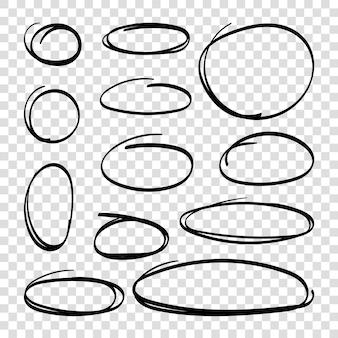 Ręcznie rysowane owale podkreślają koła zestaw grafiki liniowej