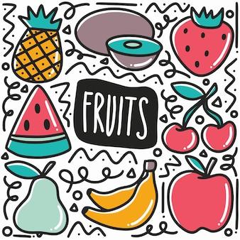 Ręcznie rysowane owoce doodle zestaw z ikonami i elementami projektu