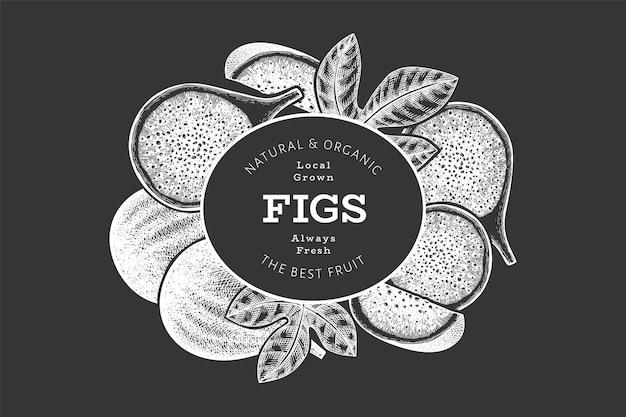 Ręcznie rysowane owoce figowe. świeża żywność ekologiczna na tablicy kredowej. etykieta owoców retro fig.