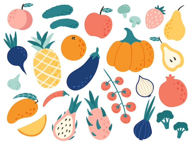 Ręcznie rysowane owoce i warzywa. doodle żywność organiczną, wegańską warzywną kuchnię i doodles ilustracyjny set