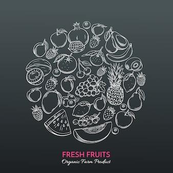 Ręcznie rysowane owoce na rynku rolników