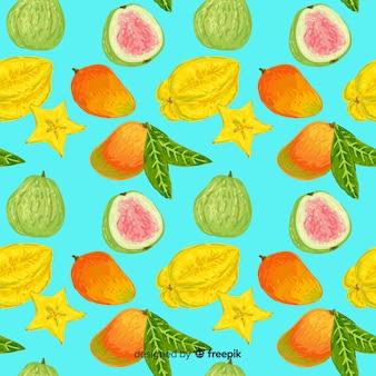 Ręcznie rysowane owoce tropikalne wzór