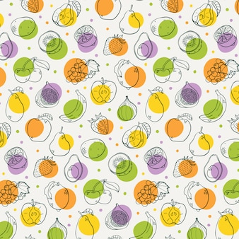 Ręcznie rysowane owoce wzór