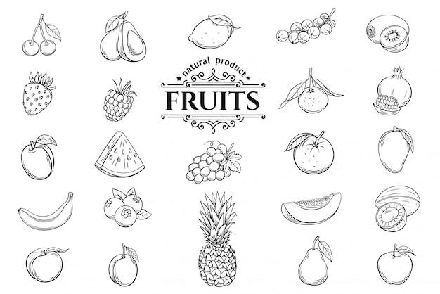 Ręcznie rysowane owoce zestaw ikon