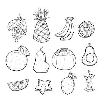 Ręcznie rysowane owoce zestaw w kolorze czarno-białym