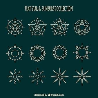 Ręcznie rysowane ozdobne gwiazdy i sunbursts