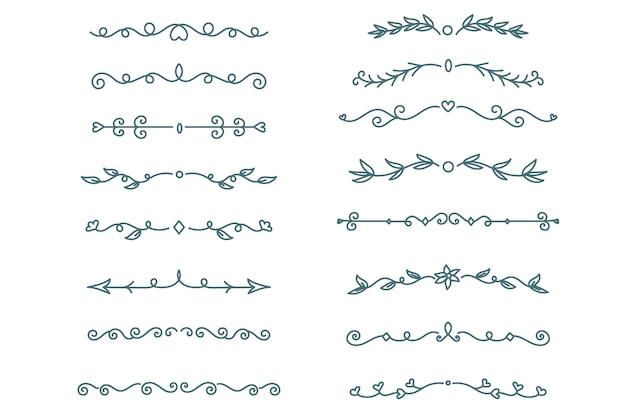 Ręcznie rysowane ozdobne przekładki na białym tle opakowanie
