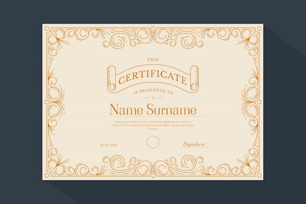 Ręcznie rysowane ozdobny certyfikat