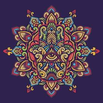 Ręcznie rysowane ozdobny hamsa ręka fatimy