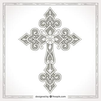 Ręcznie rysowane ozdobnych krzyż