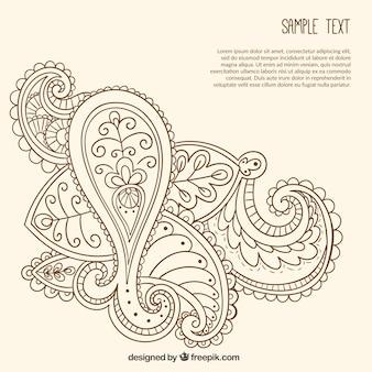 Ręcznie rysowane ozdobnych szablon paisley