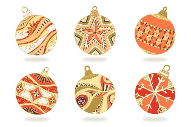 Ręcznie rysowane ozdoby świąteczne kulki