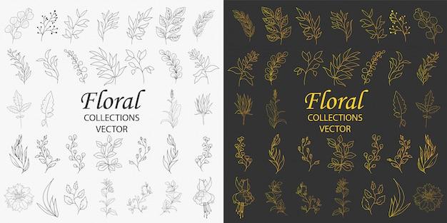 Ręcznie rysowane ozdoby z kwiatów wektor