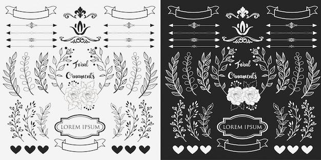 Ręcznie rysowane ozdoby z kwiatów
