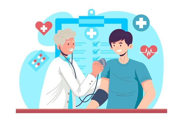 Ręcznie rysowane pacjenta podczas badania lekarskiego