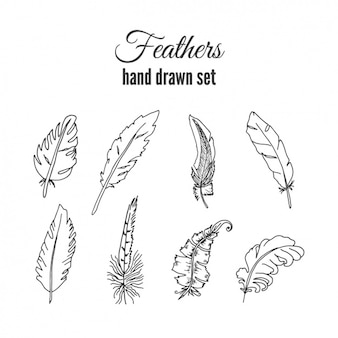 Ręcznie rysowane paczka piórko