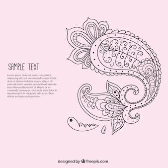 Ręcznie rysowane paisley ornament szablon