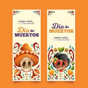 Ręcznie rysowane pakiet banerów día de muertos