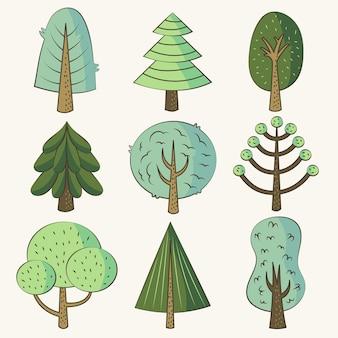 Ręcznie rysowane pakiet drzew