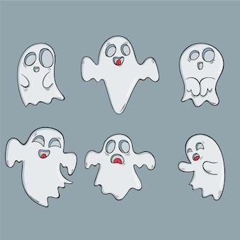 Ręcznie rysowane pakiet duchów halloween