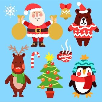 Ręcznie rysowane pakiet elementów świątecznych